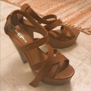 Target wooden scrappy brown heels